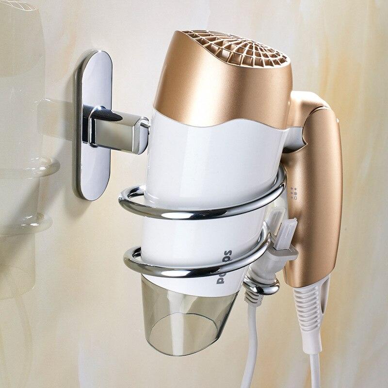 304 Stainless Steel Hair Dryer Holder Wall Mounted Bathroom Shelf Chrome Silver Rack Hair Drier Storage Hairdryer Holder стоимость