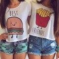 2017 Verão Estilo Casual MELHOR AMIGO Carta Impresso Tops de Culturas de Hambúrguer E Batatas Fritas de Manga Curta Irmãs T-shirt Da Menina-Amigos