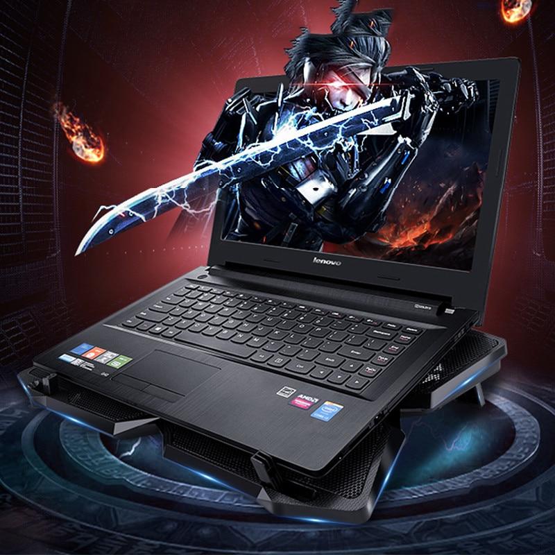 4 поклонников охладитель USB Powered тонкий плоский Тетрадь ноутбук охлаждения Cooler Pad радиатор с светодиодный четырех вентиляторов для Ноутбук и...