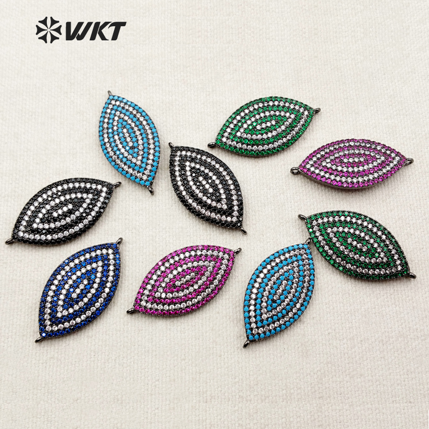 WT-MC210 Wholesale Custom Micro Pated Cubic Zircon Oval Connector With Black Gun Plated Charming Leaf Shape Girls Jewerly