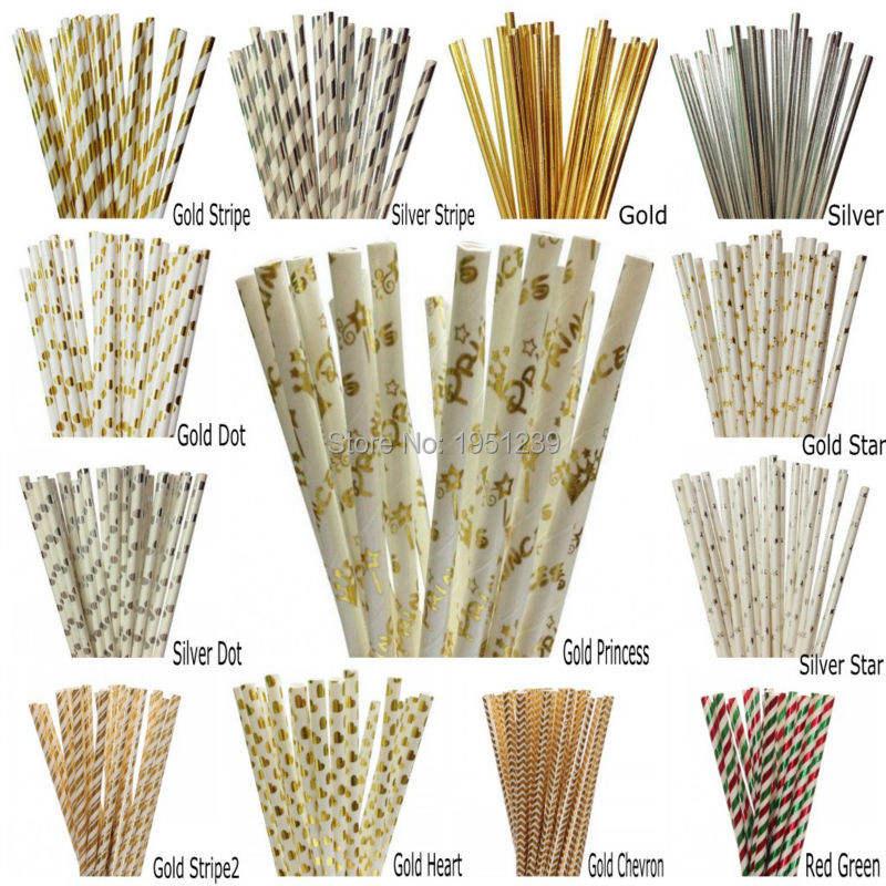 25pcs lot foil gold silver paper straws for birthday party for Aana decoration wedding accessories