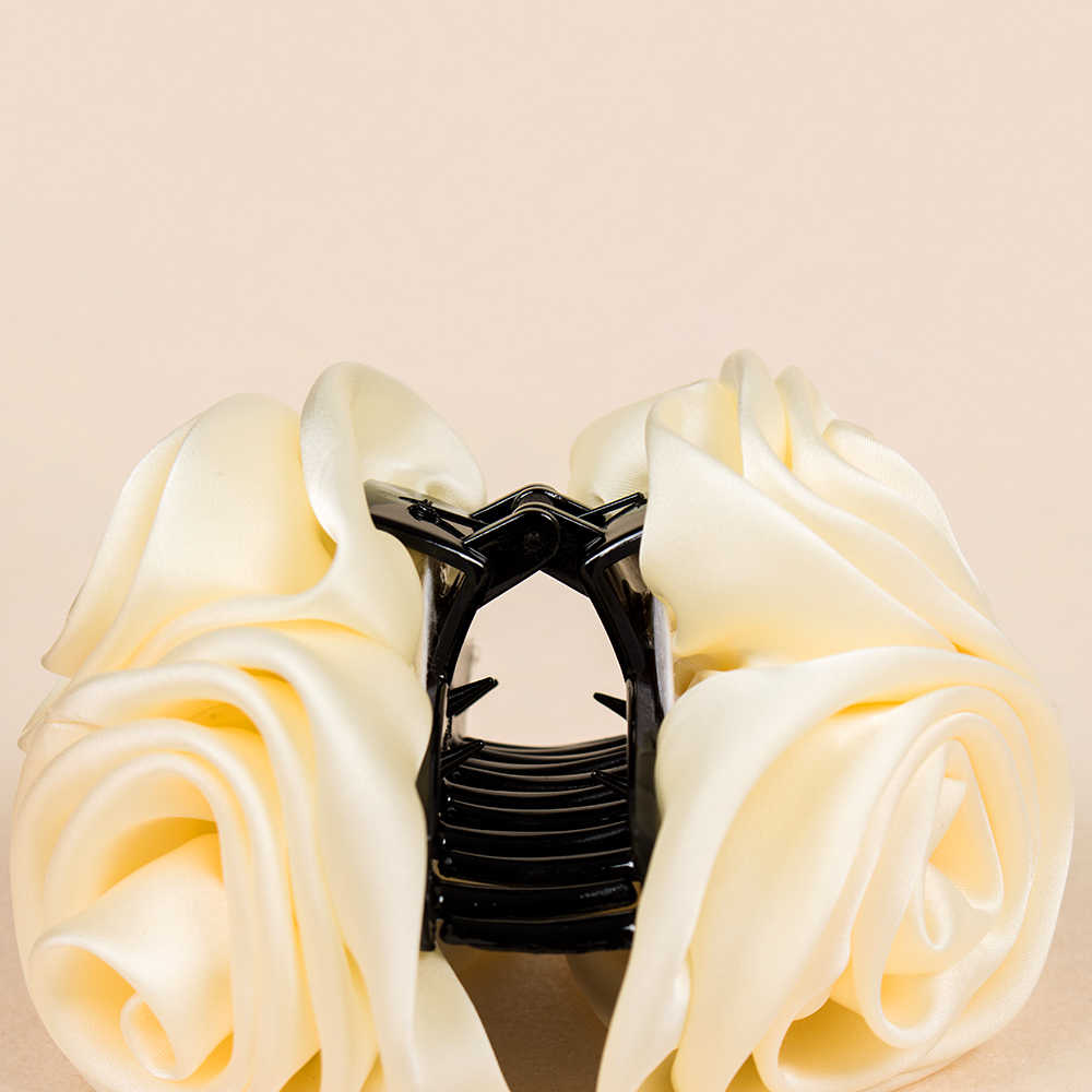 Najnowsze koreańskie piękno wstążkowa róża kwiat łuk klips do włosów Barrette spinki do włosów dla kobiet nakrycia głowy akcesoria do włosów