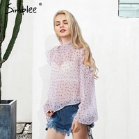 Simplee Sexy Cold Shoulder Print Chiffon Blouse Women Transparent Long Sleeve Camisa Female Tops Summer Ruffle