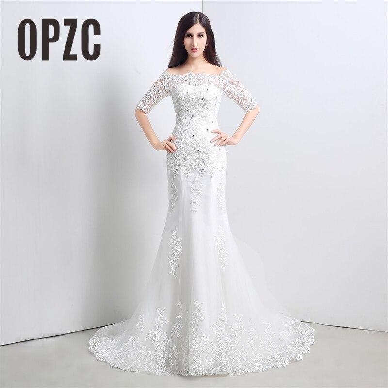 Buteaful Elegant Half Sleeve Mermaid Train Wedding Dress New Style Korean Smiple Lace off the shoulder