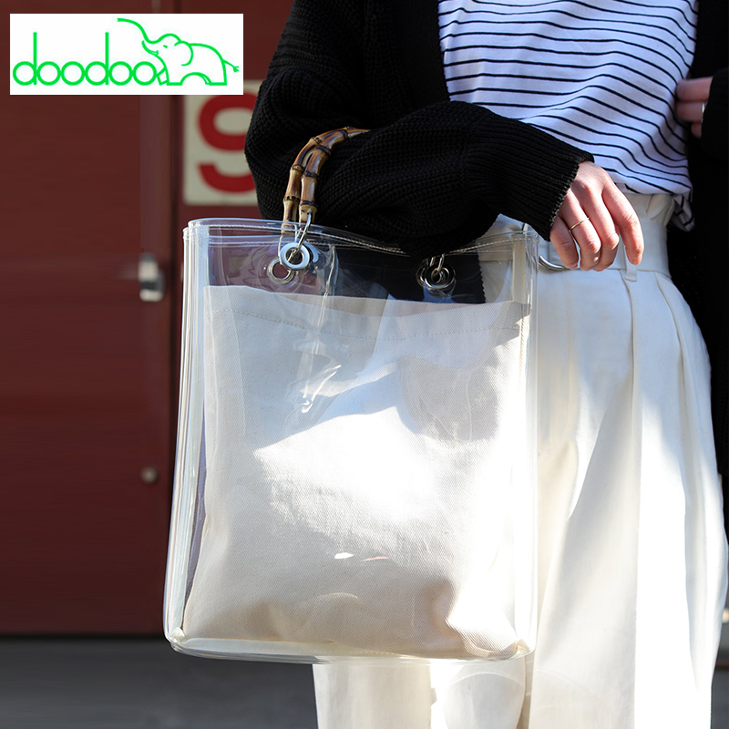 2018 Summer Fashion Clear Transparent Bamboo Handbag Large Capacity Casual Tote Women PVC High Quality Composite Bags Sac A Main new high quality pvc transparent plastic large capacity handbag transparent waterproof black kraft paper travel shopping bag