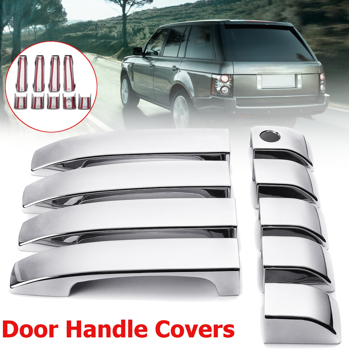 9pcs Set ABS Chrome 4 Door Handle Covers for Range Rover L322 Vogue 2002 2003 2004 2005 2006 2007 2008 2009 2010 2011 2012 2013 for suzuki swift 2004 2013 accessories chrome door handle covers 2005 2006 2007 2008 2009 2010 2011 2012 car styling stickers