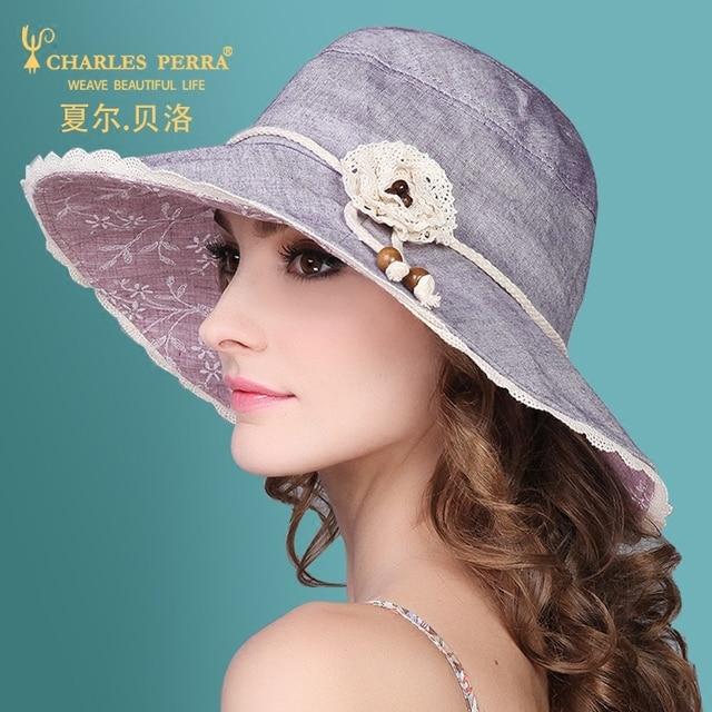 e6667c32 Charles Perra Women's Sun Hat Summer Casual Collapsible Sunscreen Fashion  Elegant Lady Caps Female Big Brim Hats 1536