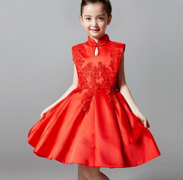 d578bd2b9d Christmas Girl Party Dress White Red Embroidered Petal Princess Kids  Children Dresses for Girls Clothes Ball Gown 4-12T