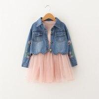 Crianças Meninas Vestem Conjunto Jaqueta Jeans + vestido Tutu 2 peças Vestidos de princesa Para Crianças meninas Primavera Terno Do Bebê roupas de Outono 3yrs
