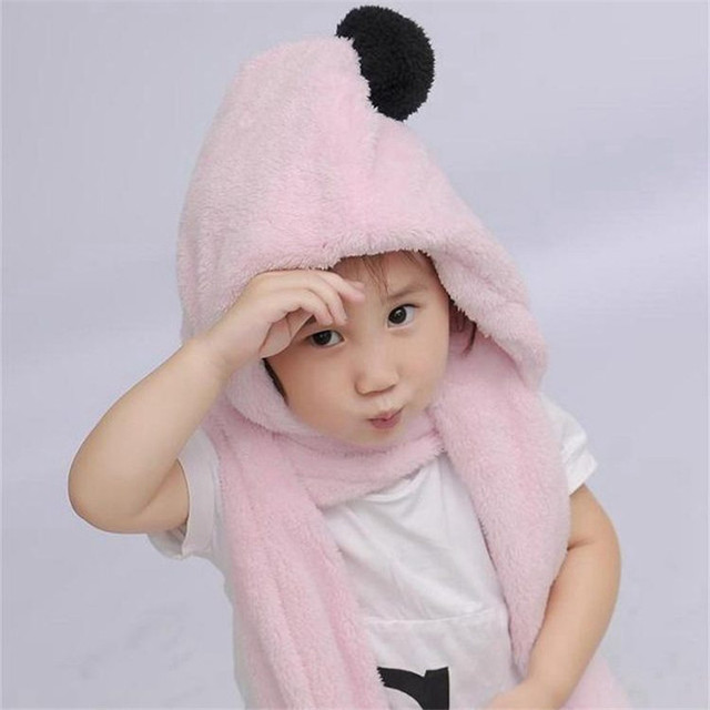 New hot sale boys and girls cute hats scarves gloves,Hot products Warmth winter children plush hoodie gloves earcap Snood scarf