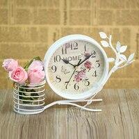 Vintage home decoration table clock use metal material silent desktop clock montre reine des neiges horloge 19