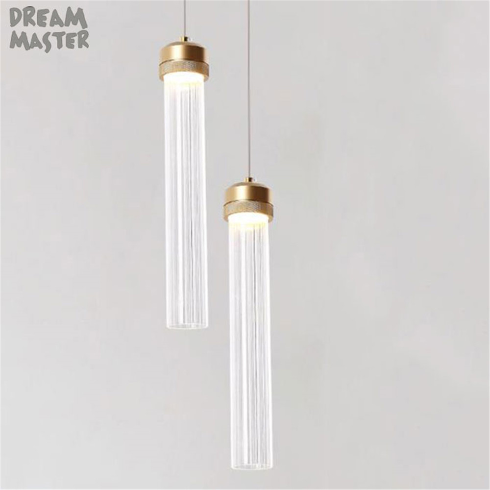 Nordic modern dining room led chandeliers golden plated long clear striped tube glass shade lustres light 3 5 island lightingNordic modern dining room led chandeliers golden plated long clear striped tube glass shade lustres light 3 5 island lighting