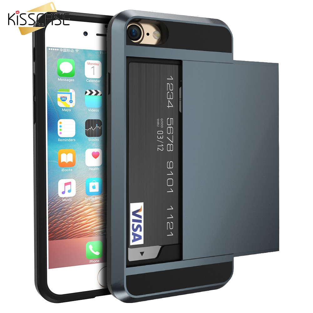 KISSCASE Cool Slide Case för iPhone 5s 7 8 Plus Korthållare Telefonskydd för iPhone 5 SE 6 6s 7 8 Plus Cover Hybrid Coques