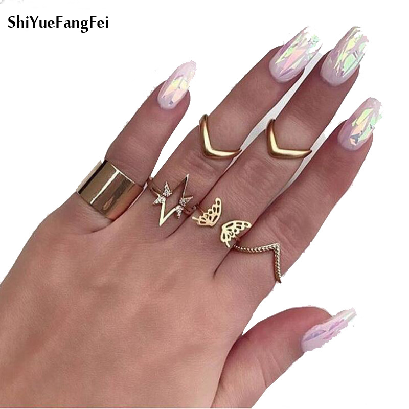 New 7Pcs/ Set Fashion Star Butterfly V Shaped Geometric Gold Joint Ring Women Personality Party Ring Set Combination
