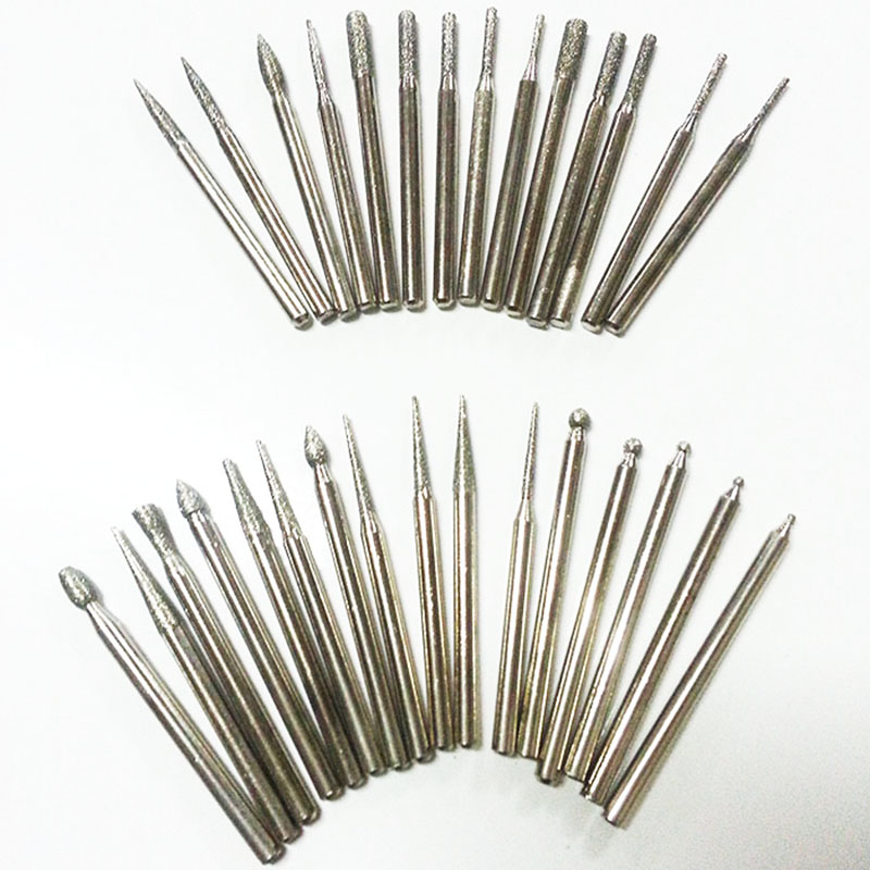 30 / buc 3mm diamant burs instrument dremel rotativ diamant sinterizat burs Cap abraziv abraziv dremel accesorii dremel diamant biți