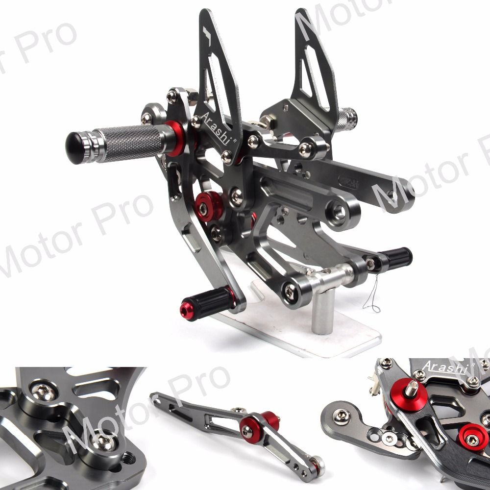 Adjustable Footrests For YAMAHA YZF R6 2017 YZF-R6 Motorcycle Foot Pegs Rest Rearset Rear Set Pedal CNC High Grade Aluminum GRAY