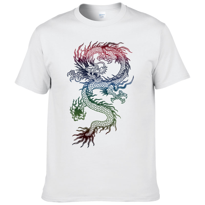 2017 Summer Hot sale Fashion Brand T Shirt Men Dragon Printing T-shirt Tattoo Male Cotton Short Sleeves Hip Hop Tops Cool Tees