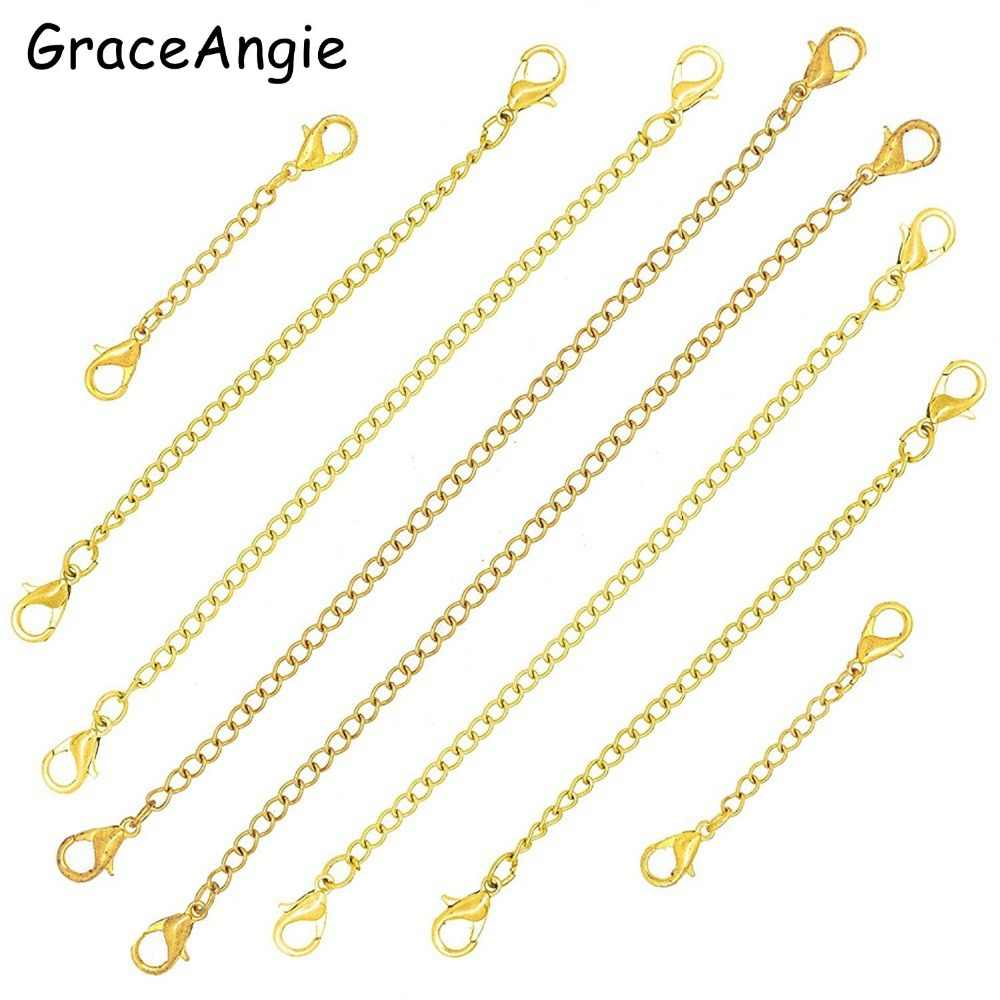 5 pçs/lote Aço Inoxidável Colar Cadeia de Extensão Extender Chains Com Lagosta Fechos Para Pulseira Diy Jóias Acessórios