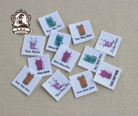 96 Custom Logo Labels Children S Clothing Tags Name Tags White Organic Cotton Labels Multicolored Cat