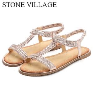Image 5 - Zapatos informales con diamantes de imitación para mujer, sandalias de playa, estilo bohemio, Boca de pescado, para verano
