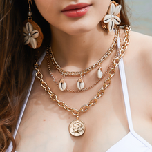2019 Ladies Shell Necklace Multi-layer Coin Necklace Women Vacation Jewelry(China)