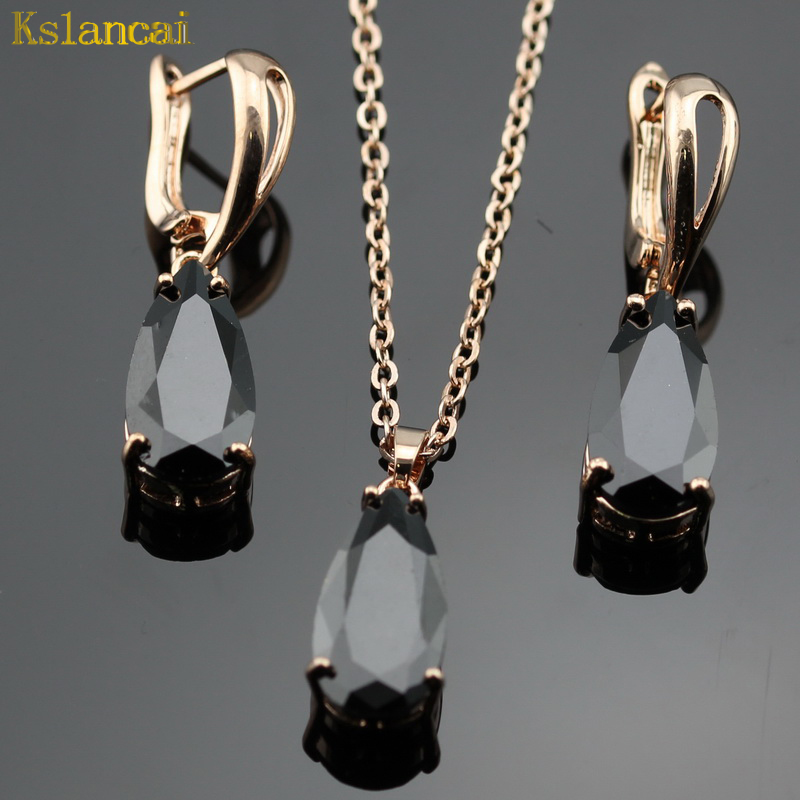 LAN Classic Rose Gold Jewelry Sets Water Drop Shaped Black AAA Zircon For Necklace&Pendant /Earrings For Women Free Shipping pair of sweet simply designed water drop pattern pendant earrings for women