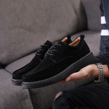 suede Split Leather Shoes for Men Flats Design Style Men Shoes Fashion loafers outdoor breathable Lace Up Casual Shoes For Men 4