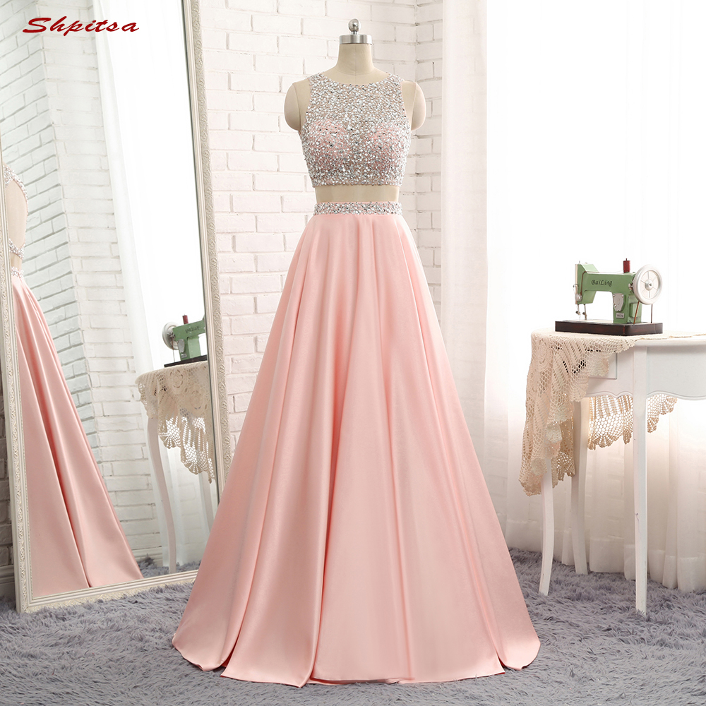 Two 2 Piece Prom Dresses for Graduation Beaded Satin Long Evening ...