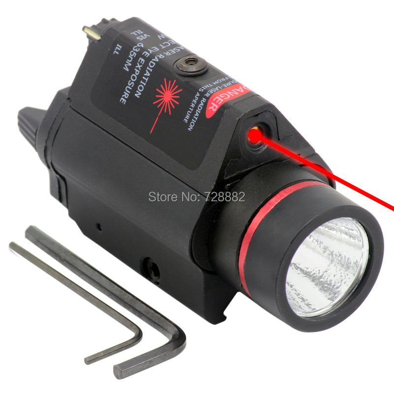 Red Dot Sight Laser 3W LED Flashlight Torch Combo 200LM 635nm For Pistol Hunting Weapon Light Gun