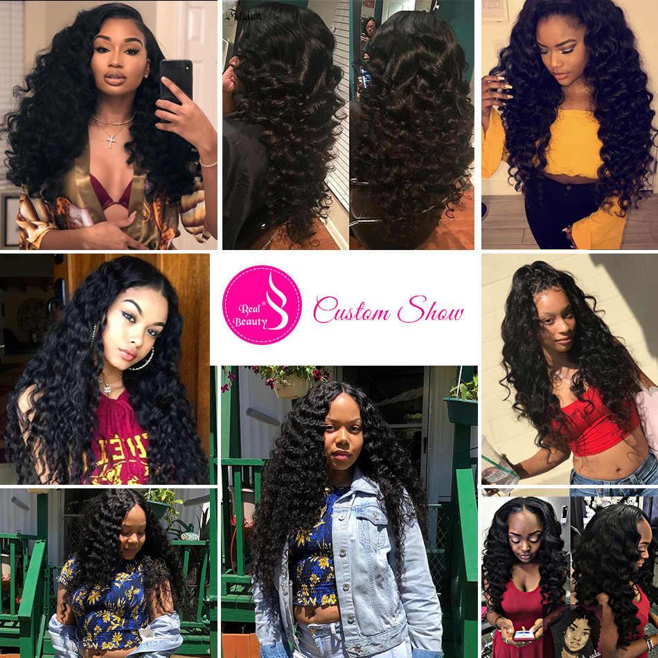 Настоящая красота бразильские волосы remy глубокая волна 3 и 4 пучка с закрытием человеческие волосы для наращивания с бесплатной/три/средней частью Закрытие