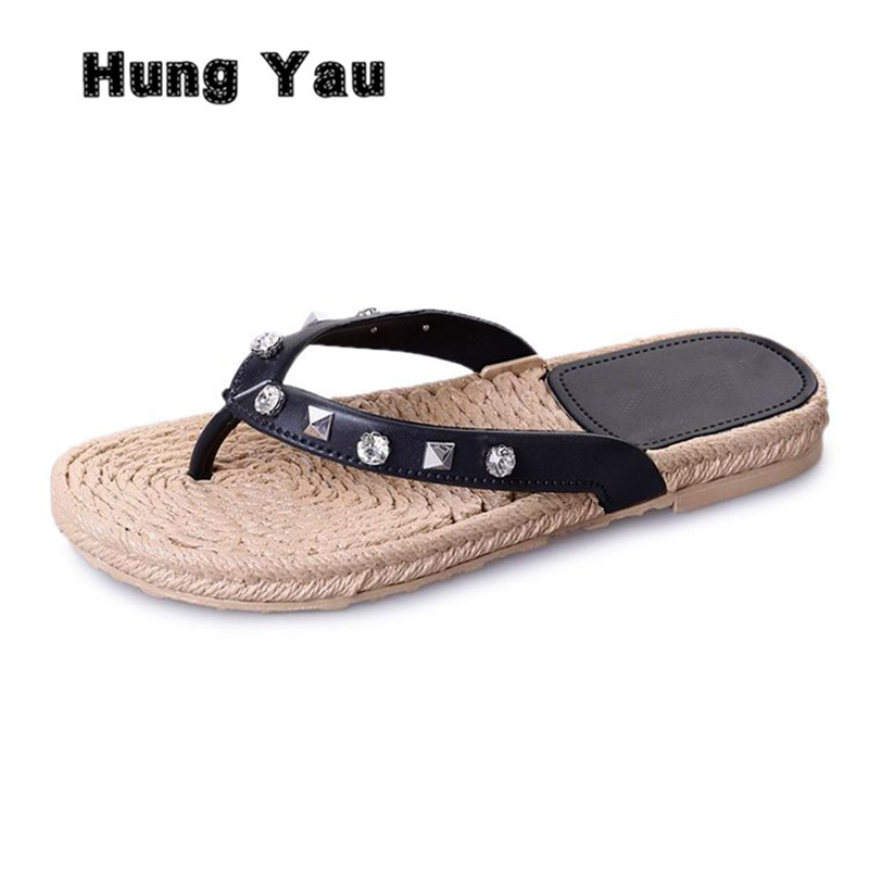 Hung Yau Women Slippers Summer Beach Straw Slippers Flip Flops Sandals Women Rivet Fashion Slippers Ladies Flats Shoes Size US 9 2016 summer korean version of the large size flip flops women slippers with a simple slippery beach sandals