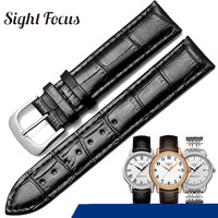14mm 19mm Cowhide Leather Watch Strap for Tissot Carson T085 Seastar Watch Bands Black Brown Belts Bracelets Gold Silver Buckle