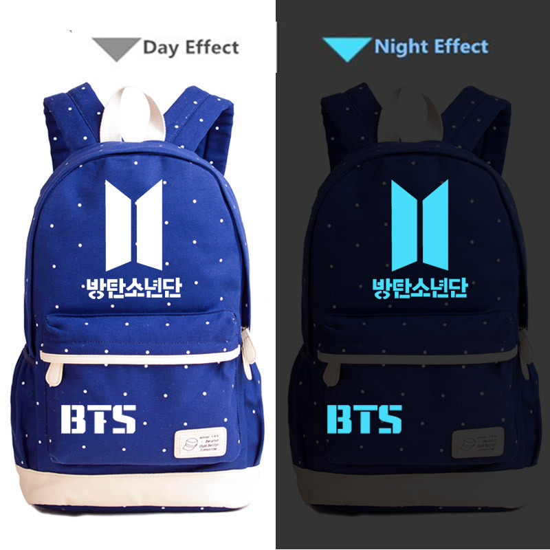 Kimikoy KPOP Bangtan Boys BTS Luminous backpack Canvas Laptop bag Rucksacks  Student School travel bags Daypack-in Backpacks from Luggage   Bags on ...