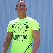 2019 Sports Fitness Short Sleeve Jogger Bodybuilding T-Shirt Stretch Quick-drying Tights Men Sports Running T-Shirt Round Neck S все цены