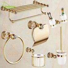 Античное золото, полированное золото, латунная отделка, аксессуары для ванной комнаты, европейские аксессуары для ванной комнаты, набор, роскошные хрустальные Товары для ванной
