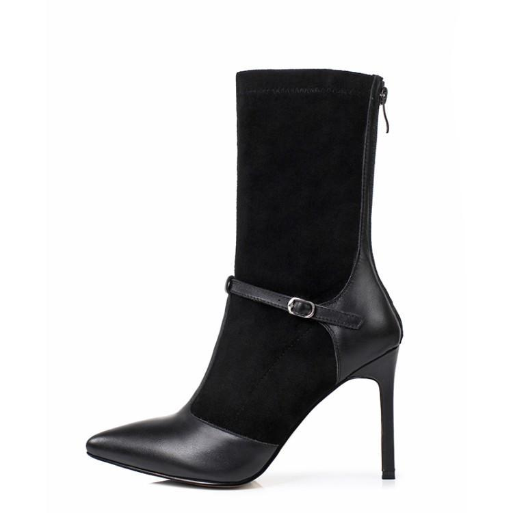 цена Chic Women Boots Metal Buckle Design Women Stiletto Back Zipper Bottes Femme Mid-calf Boots Black Color Trendy Short Booties