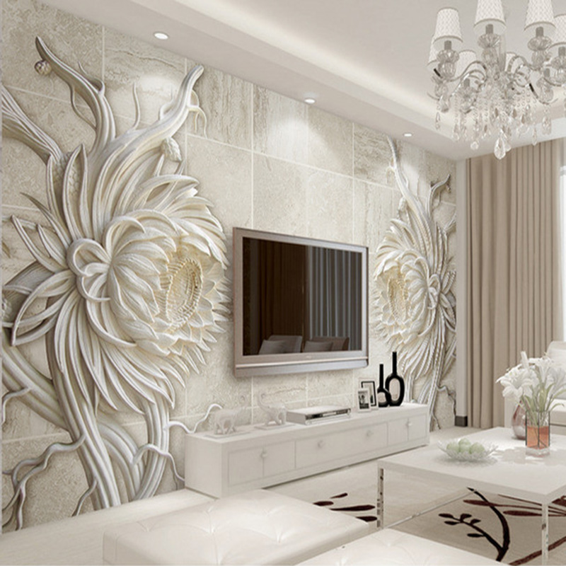 Custom 3D Mural Wallpaper European Style Stone Carving