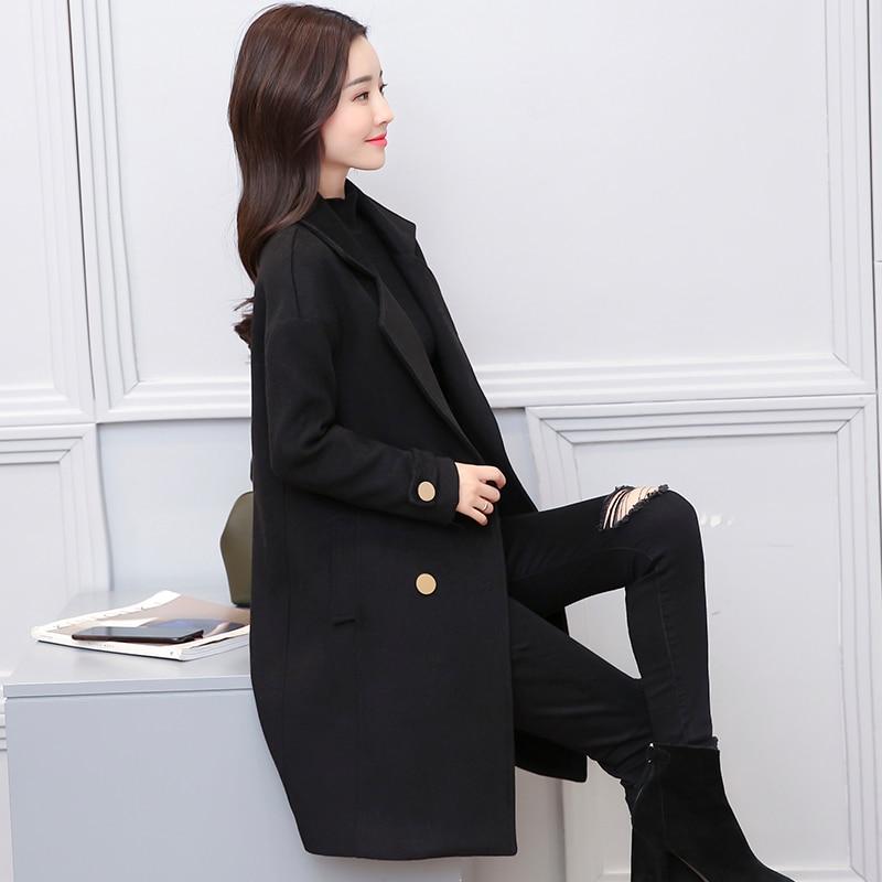 Vêtements Section Noir Veste De Femme Manteau Épaississement Travail Nouvelle Lâche Mélanges 2018 Coréenne Laine Solide Longue IXp6q
