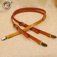 1 7cm High Quality Real Cowhide Split Leather Strap Women Men Unisex Suspenders