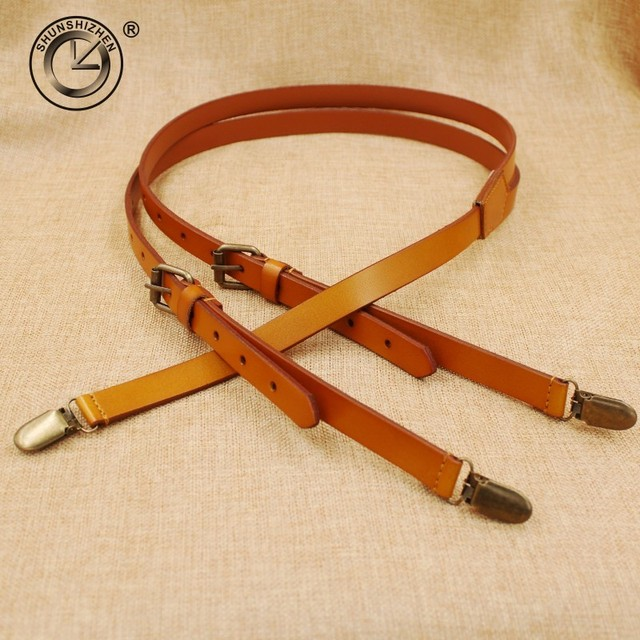High quality cowhide leather strap Women men unisex suspenders real leather Braces