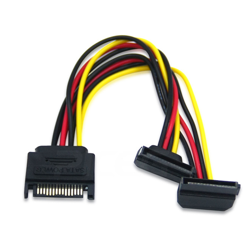 SATA Right Angle 1 To 2 Ways 15Pin Sata  Power Supply Extension Cable Male To Dual Female SATA SSD Power Port Multiplier