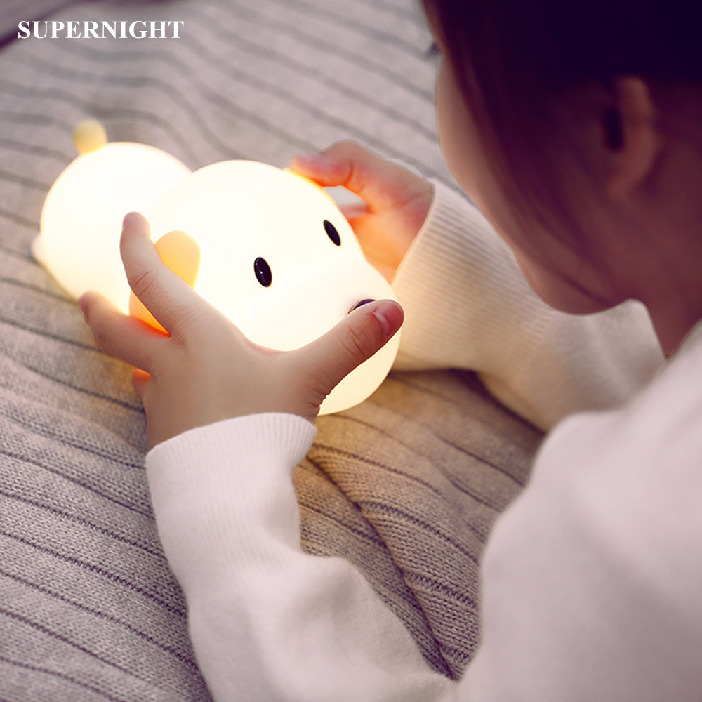 Cartoon Dog LED Night Light Touch Lamp Dimmable Timer USB Rechargeable Silicone Puppy Bedroom Lamp For Children Kids Baby Gift