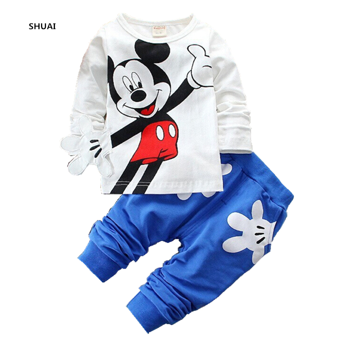 New Baby Girls Boys Mickey Clothing Sets Kids Autumn Character Cotton Long Sleeve Shirt +Pants Suit Children Set For 1-4 Years 2015 new autumn winter warm boys girls suit children s sets baby boys hooded clothing set girl kids sets sweatshirts and pant
