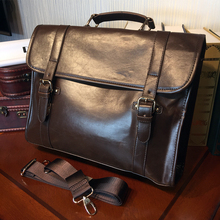 ETONWEAG New 2016 men famous brands cow leather business style designer laptop shoulder bags brown cover vintage messenger bag
