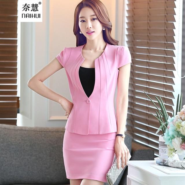 2 Pieces Suit style slim women's office skirt suit work wear formal short sleeve Patchwork blazer skirt uniform
