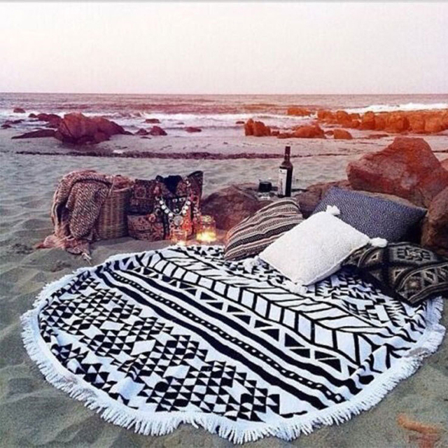 Microfiber Reactive Scarves Printed Round Beach Towel Tassel Serviette De Plage Toalla Playa Beach Swim Towel Shawls And Scarves