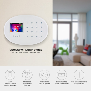 KERUI W20 WIFI GSM Home Alarm System Adopts 2.4-inch TFT Touch Screen APP Control RFID Card Wireless Infrared Smart Home Alarm 2