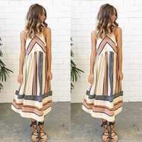 2018 Hot Sale Striped Print Midi Dress Sexy Casual O Neck Sleeveless Women Summer Boho Beach Dress Fasgion Pencil Dress Vestido