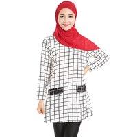 חולצה משובץ חולצת נשים מוסלמיים ערבית העבאיה בגדים מוסלמיים תורכי