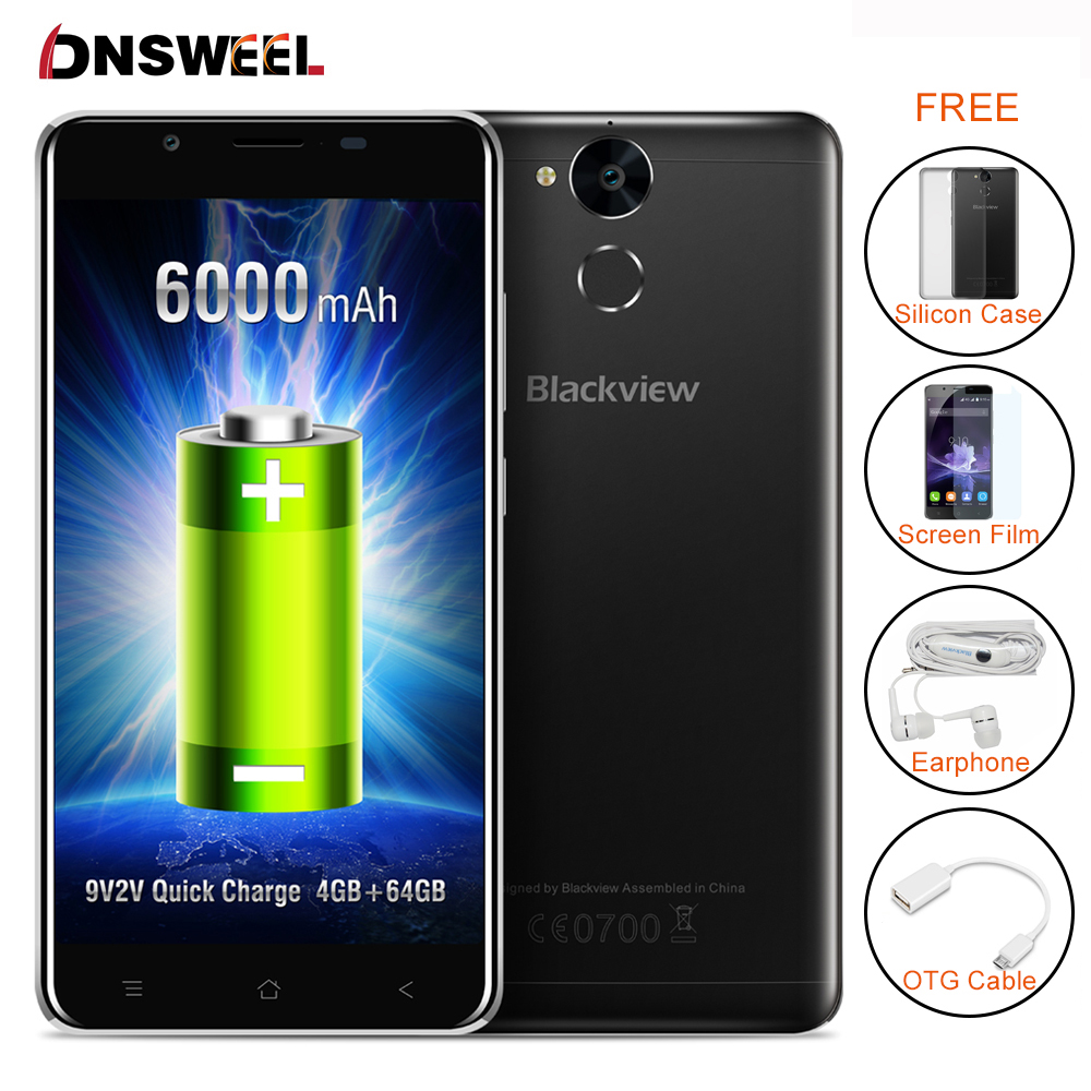 Blackview P2 smartphone 5.5inch FHD 4GB RAM 64GB ROM Android Cell Phone Octa Core 6000mAh Battery 13MP Camera 4G Mobile Phone